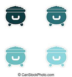 conceito, elegante, papel, adesivo, branco, fundo, cauldron, moedas