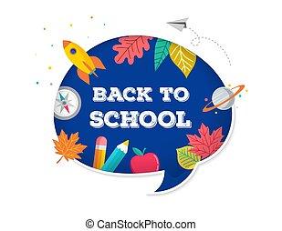 conceito, elements., escola, muitos, ícones, costas, vetorial, fala, desenho, educação, bolha