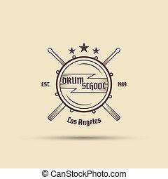 conceito, emblema, drumsticks, cruzado, logotipo, tambor, ou