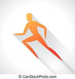 conceito, emblema, marcar, abstratos, ilustração, stylized, executando, atletismo, desporto, anunciando, man.