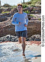 conceito, energético, day., homem, ao longo, jovem, living., costa, saudável, corridas, ensolarado, mar