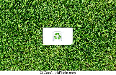 conceito, energia, capim, verde, saída, :