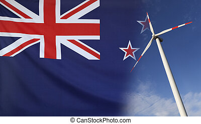 conceito, energia limpa, em, nova zelândia