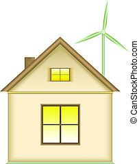 conceito, energia, -, renovável, lar, turbina, vento