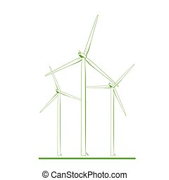 conceito, energia, turbinas, verde, renovável, branca, vento