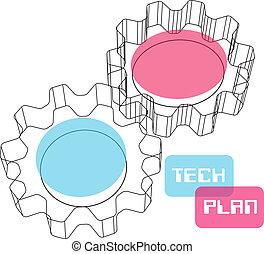 conceito, engrenagem, wireframe, plano, tecnologia, 3d