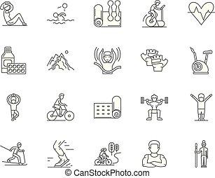 conceito, esboço, clube, ícones, ilustração, jogo, vetorial...