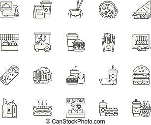 conceito, esboço, jogo, ícones, ilustração, alimento, vetorial, pista, linha, sinais