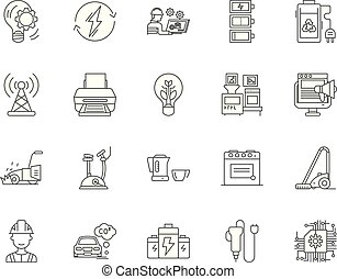 conceito, esboço, jogo, ícones, ilustração, equipamento, vetorial, linha elétrica, sinais