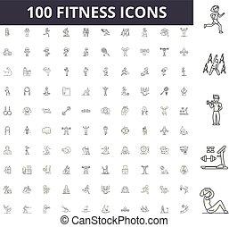 conceito, esboço, jogo, ícones, ilustração, vetorial, condicão física, linha, sinais