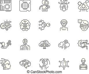 conceito, esboço, jogo, ícones tecnologia, ilustração, vetorial, linha, sinais, avançado