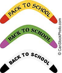 conceito, escola, jogo, school., september., abstratos, text., costas, ilustração, vetorial, boomerang, australiano, imagem, estoque