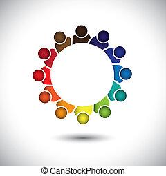 conceito, escritório, empregados, -, companhia, vector., reunião, ou, pessoal