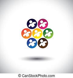 conceito, escritório, escola, abstratos, crianças, ícones, circle., também, coloridos, empregados, gráfico, representa, colegas, crianças, pessoal, este, &, tocando, etc, vetorial, jogos, equipe, ou