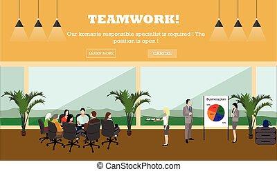 conceito, escritório negócio, banner., vetorial, interior., reunião