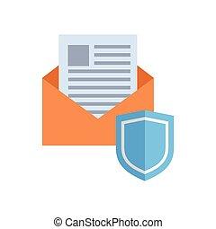 conceito, escudo, envelope, proteção, correio, dados, ícone