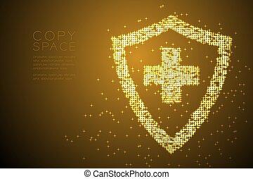 conceito, escudo, ouro, cor, abstratos, sinal, desenho, gradiente, padrão, forma transversal, bokeh, marrom, estrela, espaço, ilustração, proteção, fundo, cópia, isolado, médico, vetorial, brilhante