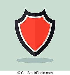 conceito, escudo, vermelho, ícone