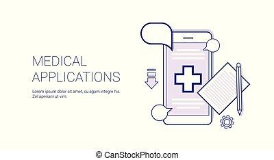 conceito, espaço, móvel, tecnologia, doutor médico, aplicação, consulta, linha magra, cópia, bandeira
