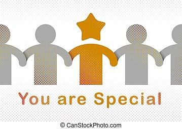 conceito, especiais, personality., ilustração, amigo, pessoa, excelente, favorito, amizade, liderança, metáfora, melhor, vetorial, pessoa