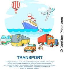 conceito, estilo, transporte, caricatura, tipos