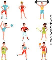 conceito, estilo vida, jogadores, jogo, futebol, tênis, desportistas, ilustração, esportes, basebol, voleibol, vetorial, ativo, esporte profissional, basquetebol, outro