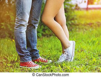 conceito, estilo vida, na moda, -, par, pernas, fresco