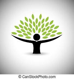 conceito, estilo vida, pessoas, eco, -, natureza, árvore, vector., abraçar, ou