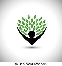 conceito, estilo vida, pessoas, eco, -, natureza, árvore,...