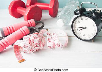 conceito, estilo vida, saudável, medir-fita, despertador, equipments, água, condicão física, desporto