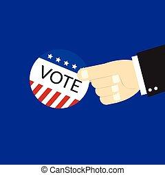 conceito, eua, mão, voto, logotipo, votando