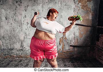 conceito, excesso de peso, contra, luta, mulher, obesidade