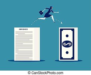 conceito, executiva, perda, pular, profit., vetorial, illustration., negócio