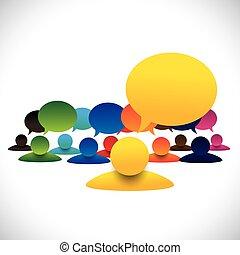 conceito, falando, &, empl, gerente, vetorial, membros, reunião, líder