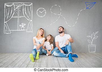 conceito, família, casa, movendo lar, dia novo
