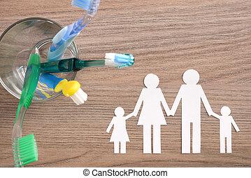 conceito, família, dentes limpando, lar, inteiro