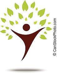conceito, família, eco, árvore, símbolo, verde, sinal