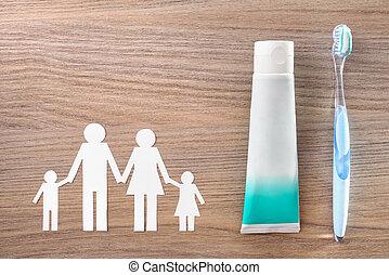 conceito, família, higiene dental, madeira, tabela, ferramentas, topo