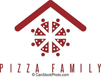 conceito, família, pessoas, abstratos, telhado, vetorial, pizza