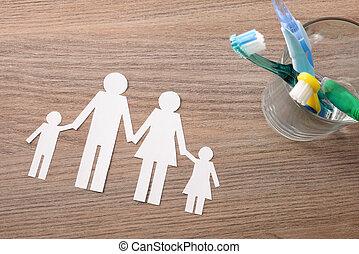 conceito, família, topo, dentes limpando, lar