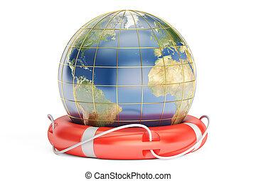 conceito, fazendo, salvar, 3d, mundo
