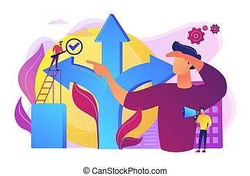 conceito, fazer, decisão, vetorial, ilustração