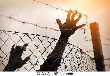 conceito, fence., refugiado, homens