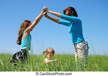 conceito, filha, família, casa, -, pequeno
