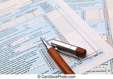 conceito, finanças, forma, imposto, 1040, renda, pen.