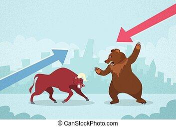 conceito, finanças, negócio, câmbio, urso, vs, touro,...