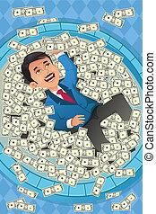 conceito financeiro, de, um, feliz, homem negócios, em, um, piscina, de, dinheiro