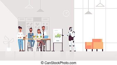 conceito, financeiro, escritório, inteligência, modernos, robô, tecnologia, conferência, gráfico, artificial, speaket, interior, reunião, cheio, negócio, carta aleta, horizontais, businesspeople, comprimento, apresentando, equipe