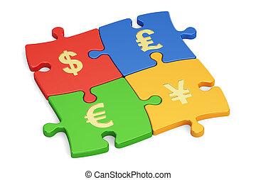 conceito financeiro, global, currencies., 3d, fazendo