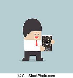 conceito, financeiro, sinal, futebol, dólar, estratégia, planificação, homem negócios